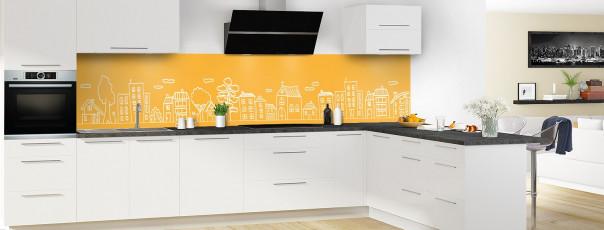 Crédence de cuisine Dessin de ville couleur abricot panoramique en perspective