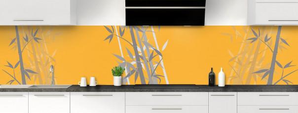 Crédence de cuisine Bambou zen couleur abricot panoramique motif inversé