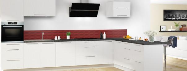 Crédence de cuisine Briques en relief couleur rouge pourpre dosseret en perspective