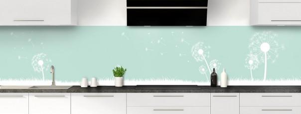 Crédence de cuisine Pissenlit au vent couleur vert pastel panoramique motif inversé