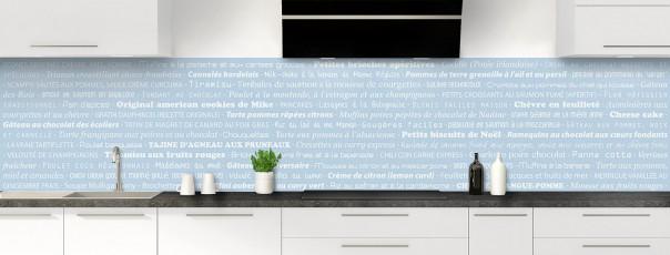 Crédence de cuisine Recettes de cuisine couleur bleu azur panoramique