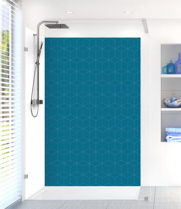 Panneau de douche Cubes en relief couleur bleu baltic