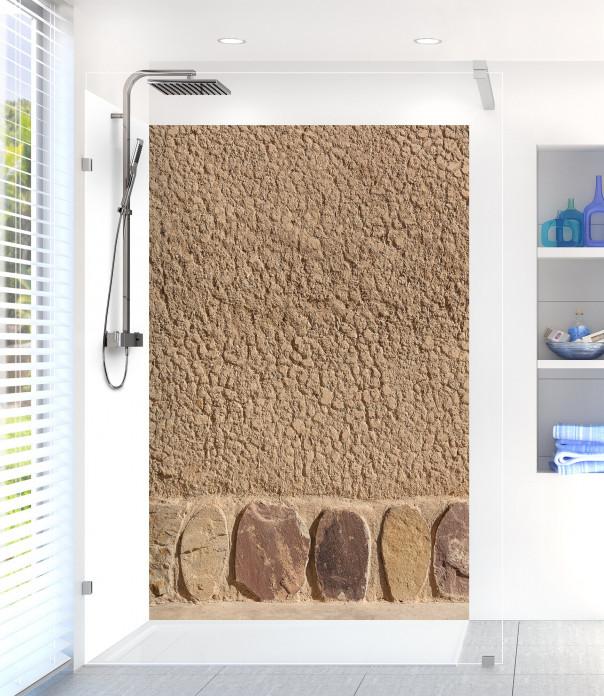 Panneau de douche Mur en terre et pierres