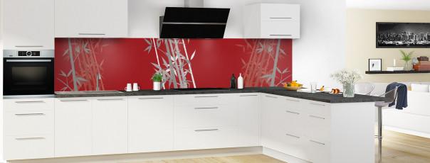 Crédence de cuisine Bambou zen couleur rouge carmin panoramique motif inversé en perspective