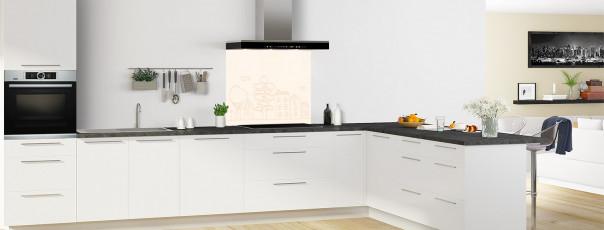 Crédence de cuisine Dessin de ville couleur magnolia fond de hotte en perspective