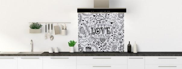 Crédence de cuisine Love illustration couleur gris clair fond de hotte
