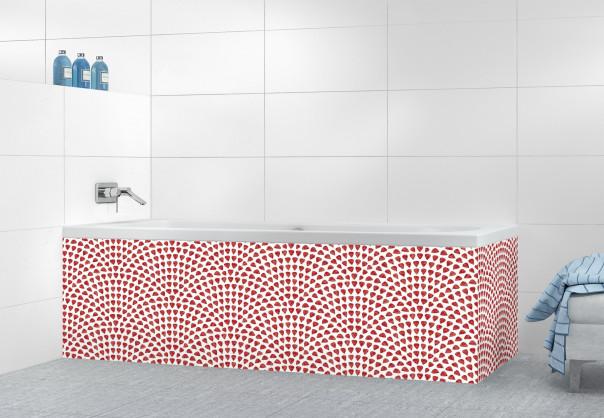 Panneau tablier de bain Mosaïque petits cœurs couleur rouge carmin
