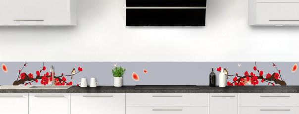 Crédence de cuisine Cerisier japonnais couleur gris métal dosseret