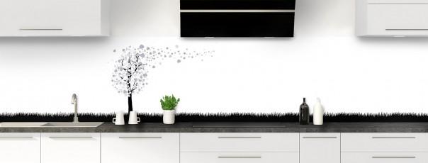 Crédence de cuisine Arbre d'amour couleur gris métal panoramique