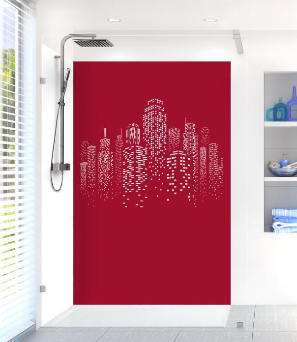 Panneau de douche Gratte-ciels couleur rouge carmin motif inversé