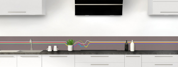 Crédence de cuisine Light painting couleur taupe dosseret motif inversé
