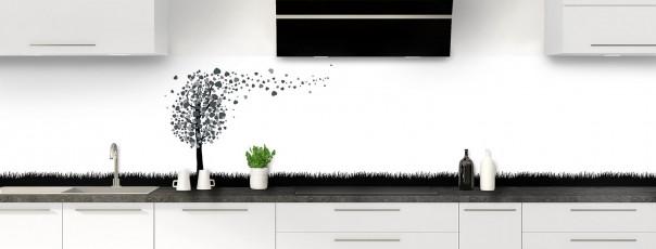 Crédence de cuisine Arbre d'amour couleur gris carbone panoramique