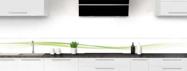 Crédence de cuisine Vague graphique couleur vert olive dosseret