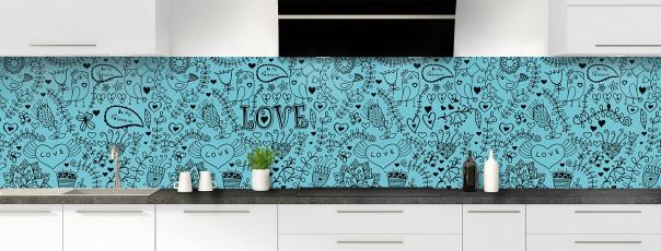 Crédence de cuisine Love illustration couleur bleu lagon panoramique