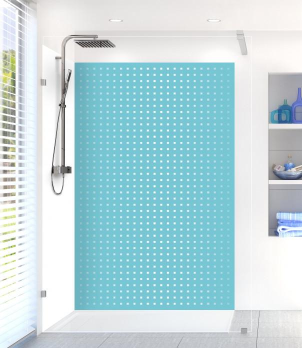 Panneau de douche Petits carrés couleur bleu lagon