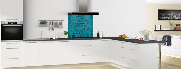 Crédence de cuisine Love illustration couleur bleu canard fond de hotte en perspective