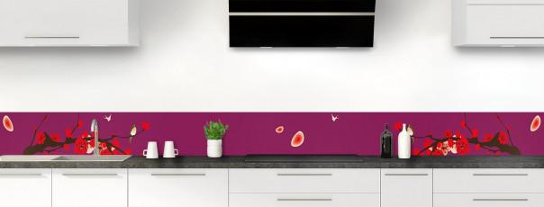 Crédence de cuisine Cerisier japonnais couleur prune dosseret motif inversé