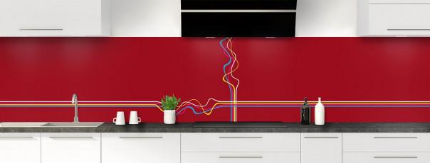 Crédence de cuisine Light painting couleur rouge carmin panoramique motif inversé