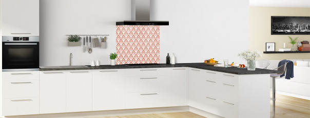 Crédence de cuisine Ecailles Magnolia couleur rouge brique fond de hotte en perspective