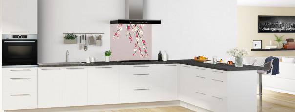 Crédence de cuisine Arbre fleuri couleur argile fond de hotte en perspective