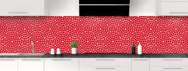 Crédence de cuisine Mosaïque cercles couleur rouge vif panoramique