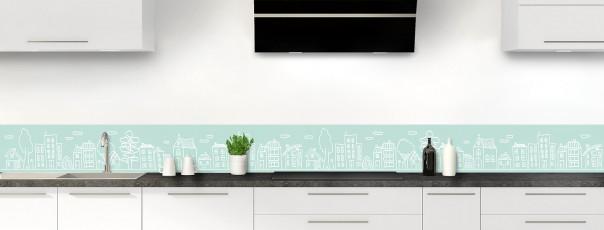 Crédence de cuisine Dessin de ville couleur vert pastel dosseret