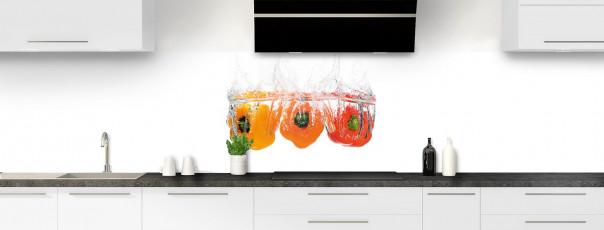 Crédence de cuisine Poivrons et aqua panoramique