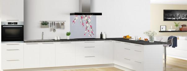 Crédence de cuisine Arbre fleuri couleur gris métal fond de hotte en perspective