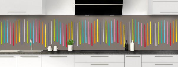Crédence de cuisine Barres colorées couleur taupe panoramique
