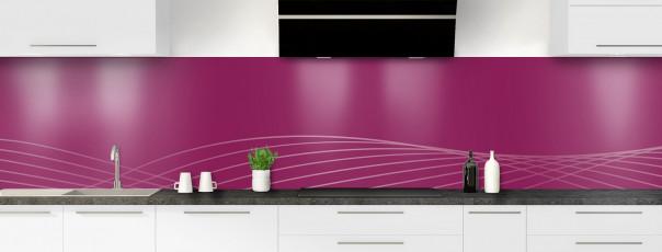 Crédence de cuisine Courbes couleur prune panoramique