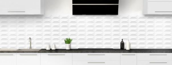 Crédence de cuisine Briques en relief couleur blanc panoramique