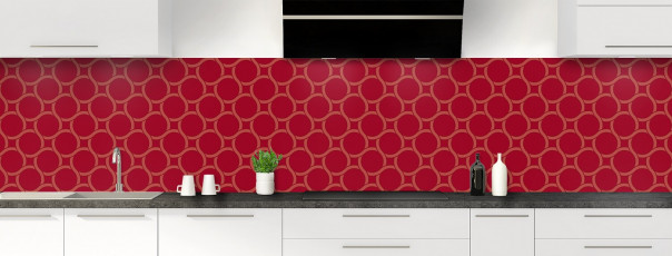 Crédence de cuisine Mosaïque cercles couleur rouge carmin panoramique