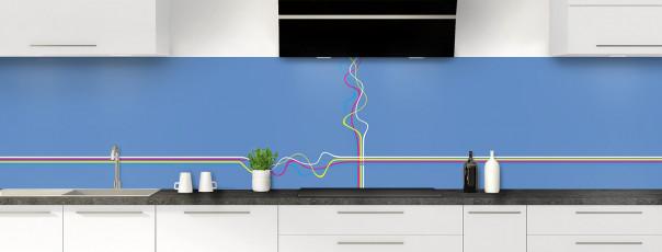 Crédence de cuisine Light painting couleur bleu lavande panoramique motif inversé