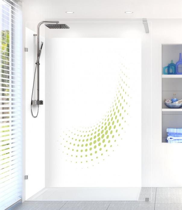 Panneau de douche Nuage de points couleur vert olive motif inversé