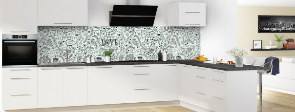 Crédence de cuisine Love illustration couleur vert eau panoramique en perspective