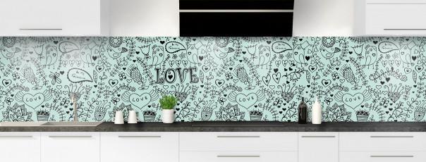 Crédence de cuisine Love illustration couleur vert pastel panoramique