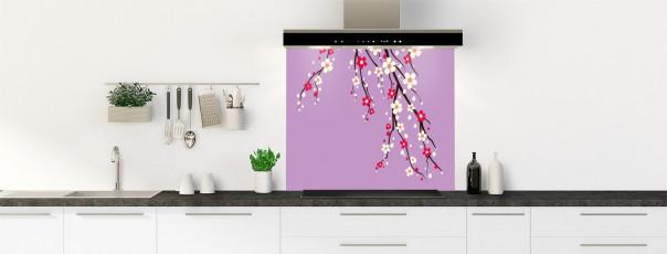Crédence de cuisine Arbre fleuri couleur parme fond de hotte