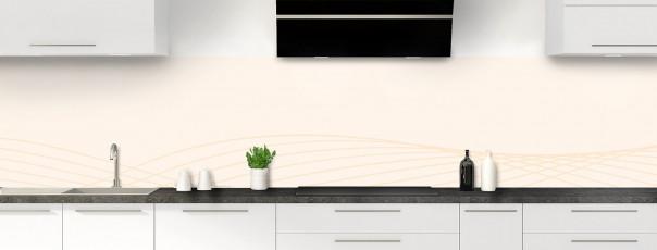 Crédence de cuisine Courbes couleur magnolia panoramique