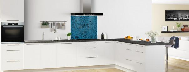 Crédence de cuisine Love illustration couleur bleu baltic fond de hotte en perspective