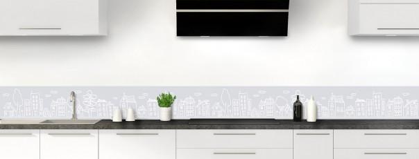 Crédence de cuisine Dessin de ville couleur gris clair dosseret
