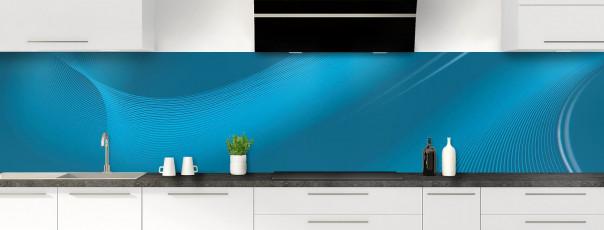Crédence de cuisine Volute couleur bleu baltic panoramique