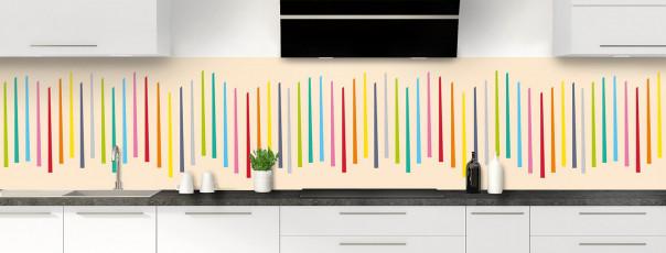 Crédence de cuisine Barres colorées couleur sable panoramique