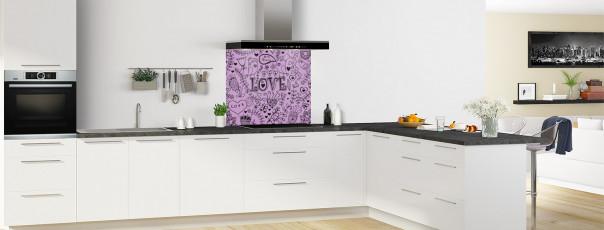 Crédence de cuisine Love illustration couleur parme fond de hotte en perspective