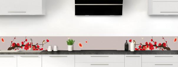 Crédence de cuisine Cerisier japonnais couleur argile dosseret