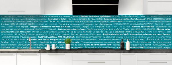 Crédence de cuisine Recettes de cuisine couleur bleu canard panoramique