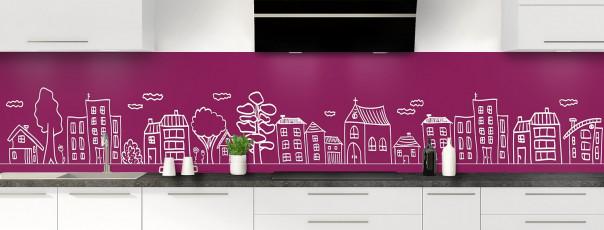 Crédence de cuisine Dessin de ville couleur prune panoramique