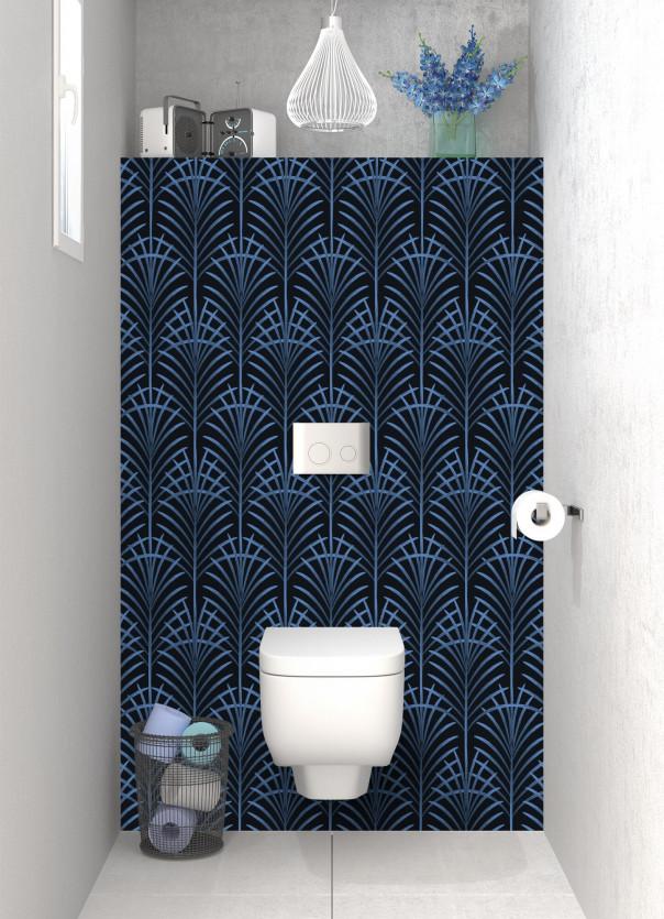 Panneau WC Feuilles de paume couleur bleu lavande