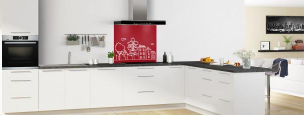 Crédence de cuisine Dessin de ville couleur rouge carmin fond de hotte en perspective