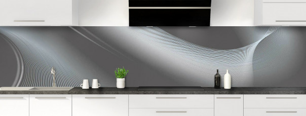 Crédence de cuisine Volute couleur gris carbone panoramique motif inversé