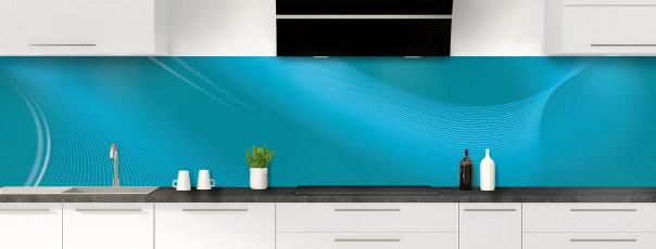 Crédence de cuisine Volute couleur bleu canard panoramique motif inversé